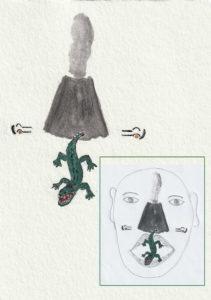 Energiebild Krokodil und Vulkan