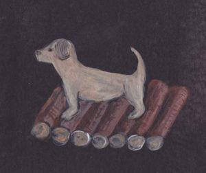 Kraftbild Hund Holz
