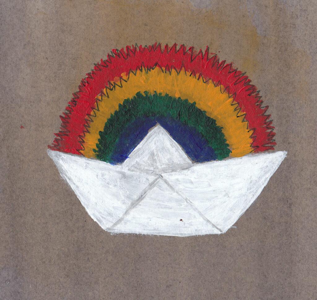 Papierschiffchen Regenbogen