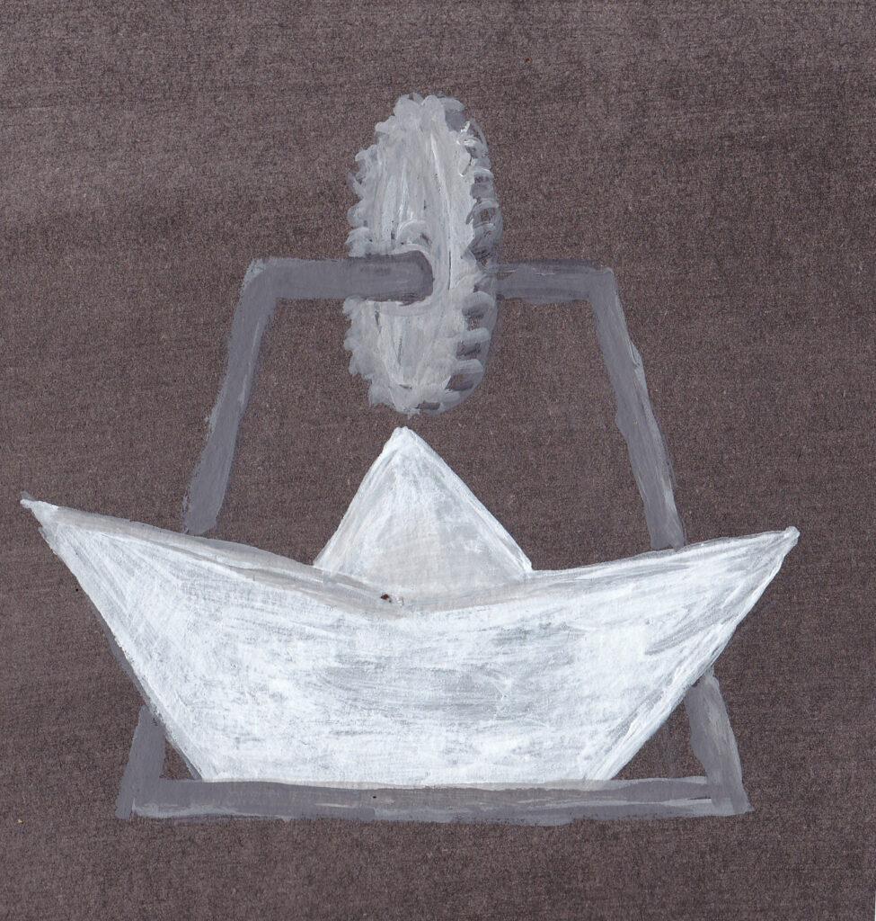 Papierschiff Zahnrad