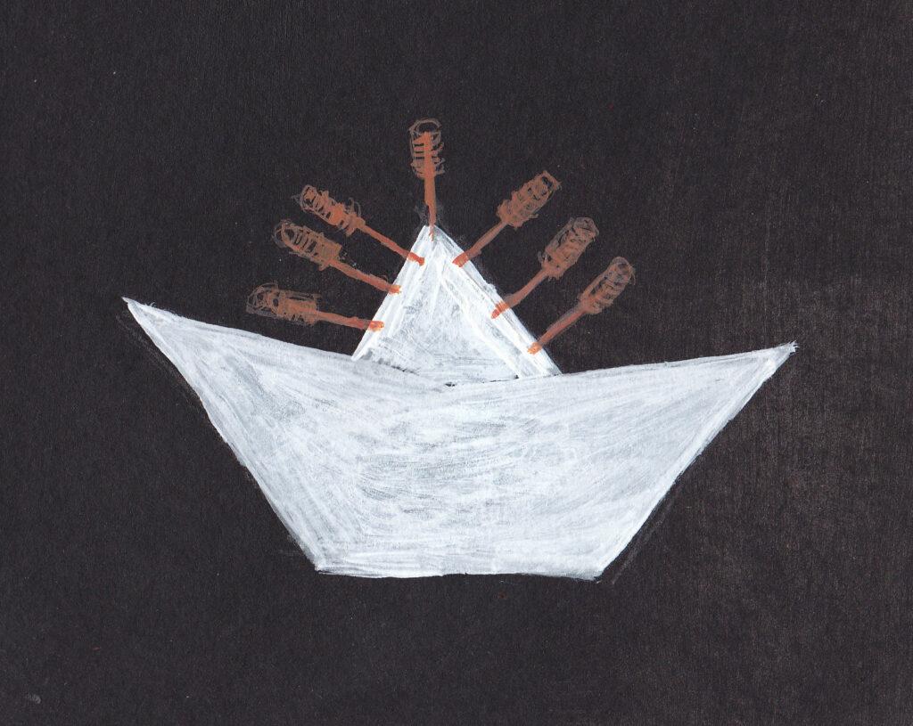 Papierschiff Nadeln