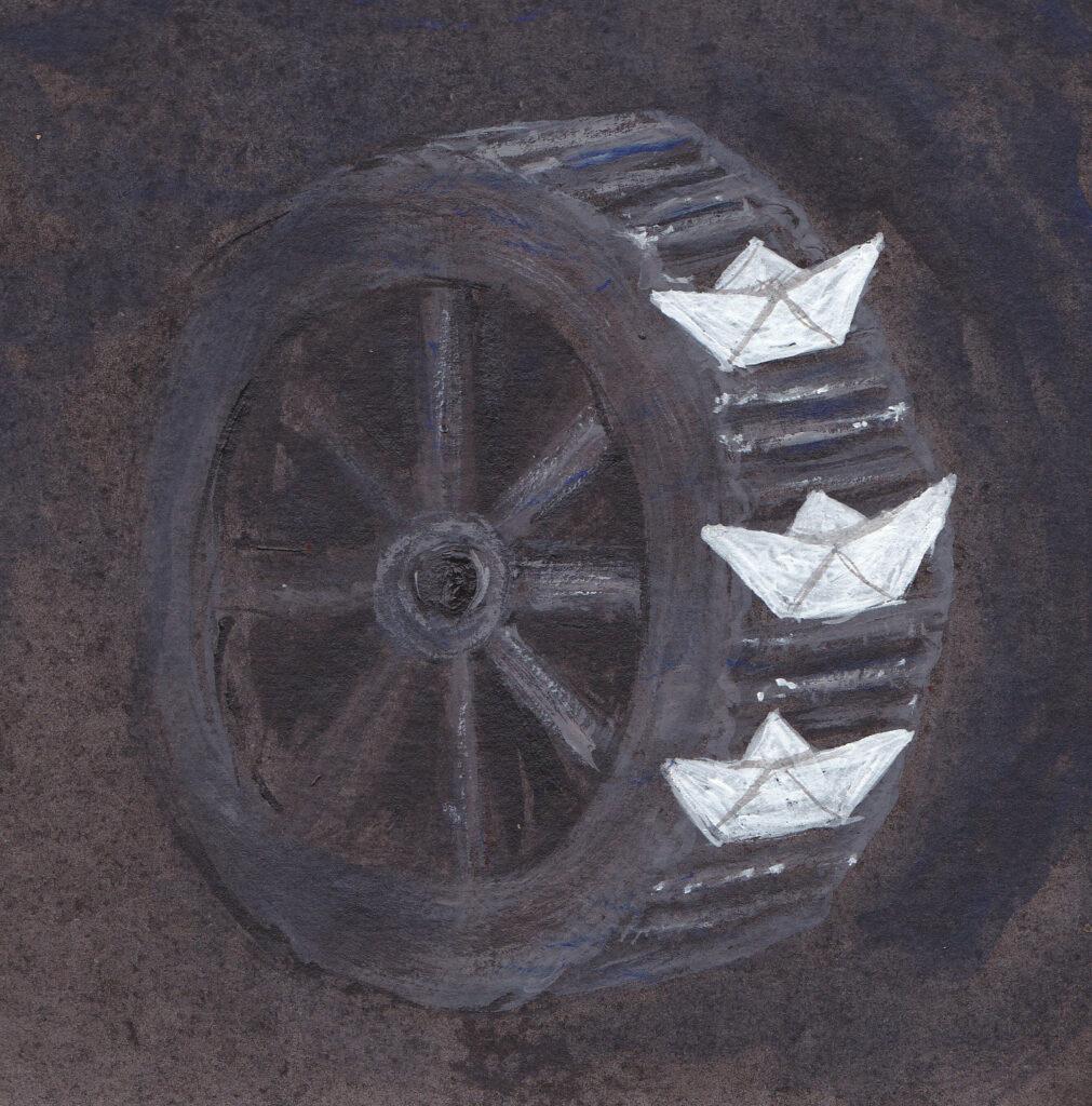 Papierschiffchen Muehlrad