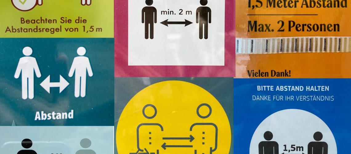 Abstand halten Symbole
